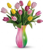Photo of Tulips in Spring Rainbow Vase