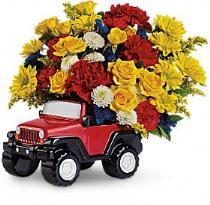Photo of Jeep Wrangler themed bouquet by Teleflora