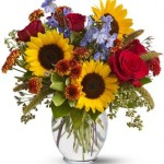 Glass Bowl Sunflowers Arrangement