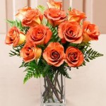 Ginger Spice Fall Roses Vased