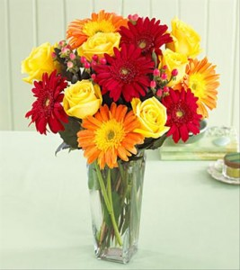 Roses and Gerbera Fresh Flowers Vased