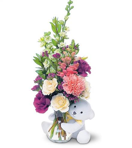 Baby Bear and Flowers Vased - BF4081