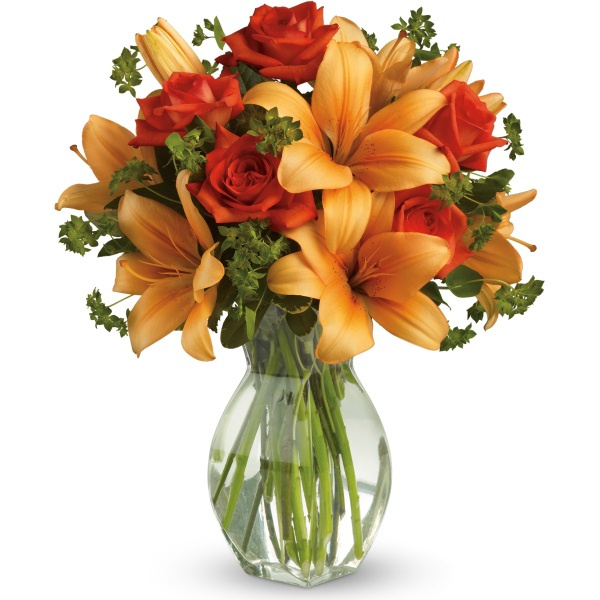 Fiery Lily and Rose In Vase - BF6397