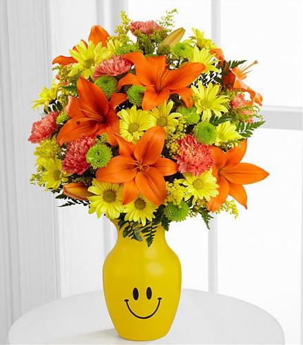 Keep Smiling Mixed Flowers Smile Vase - BF2905