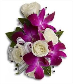 Fancy Orchids and Roses Wristlet Corsage Brant Florist