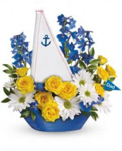 Flowers for a new baby boy in a boat | Brant Florist