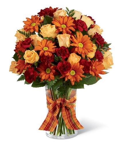 Golden Autumn Bouquet in Vase