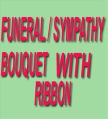 Photo of Funeral or Sympathy Bouquet with Ribbon - IC-FLBR