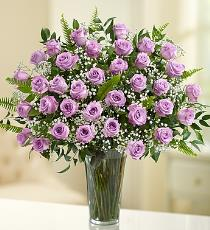Photo of 36 Mauve Rises Vased with Babys Breath - BFG