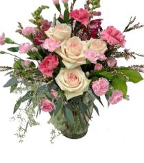 Photo of Roses & Mini Carnations in Vase  - BF1196