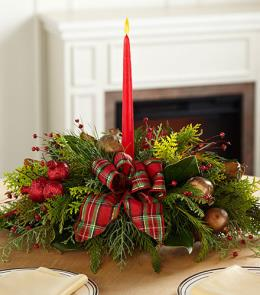 Photo of Christmas Callings Holiday Greenery Centerpiece with Candle - PT52