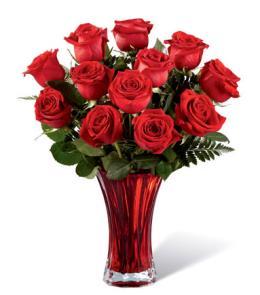 Photo of BF2098/16-V3R (12 Roses - Vase Included)