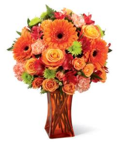 Photo of Orange Escape Bouquet in Vase  - CDO