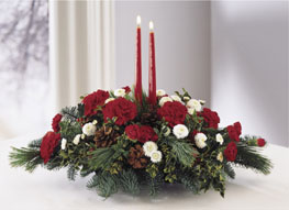 Photo of Red and White Centerpiece Twin Candles - B11-2921