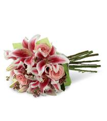 Photo of Simple Perfection Hand Tied Roses and Star Gazers<br> Just pop into vase  - B25-4390h
