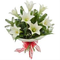 Photo of Bouquet of Lilies Gift Wraped No Vase  - C125