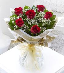 Photo of Six Stolen Kisses<br>6 Red Roses Gift Wrapped - 500511
