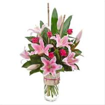 Photo of Modern Bouquet of Oriental Lilies & Roses in a Vase - AUS359