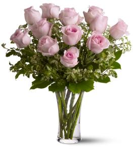 Photo of Pink Roses in Vase 12, 18, 24 or 36  - TF33-1