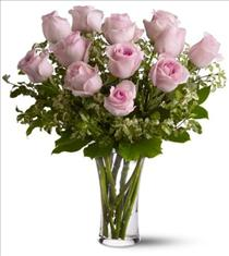 Photo of Dozen Pink Roses in Vase  - TF33-1