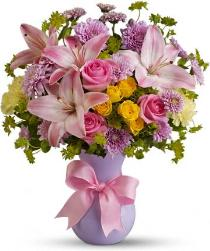 Photo of Perfectly Pastel with Pink Roses Vased  - TFWEB605