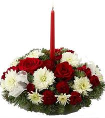Photo of Holiday Centerpiece Roses Carnations Mums - FE19