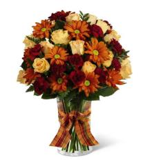 Photo of Golden Autumn Bouquet with Vase  - XX-4785