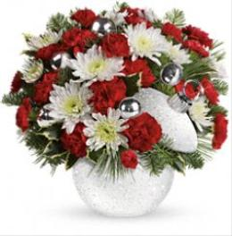 Photo of Snowball Surprise Bouquet Ornament by Teleflora T12X410 - T12X410