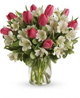 Photo of Spring Romance Tulip Bouquet in Vase - TEV24-4