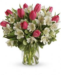 Photo of Spring Romance Tulip Bouquet in Vase - TEV24-4