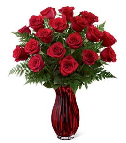 Photo of In Love with Red Roses in Vase  - 15-V7