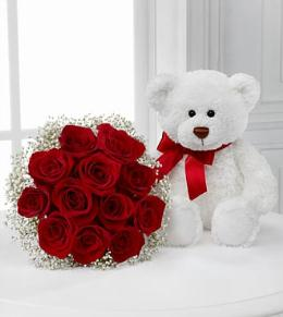 BF7596/FP36 - Meant to Be Rose Bouquet with White Bear