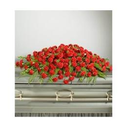 Photo of Casket Spray Closed Full Couch Red Carnations  - 80CSRED