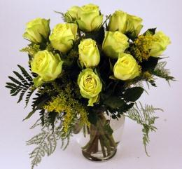 Photo of Green Roses Vased  - GRNROSES