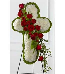 Photo of The Floral Cross on Easel Wire Stand - S12-4464