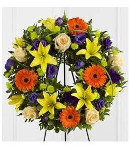Photo of Radiant Remembrance Wreath on Easel - S40-4531