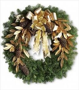 Photo of Glitter & Gold Noble Fir Wreath - T130-1