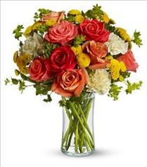 Photo of Citrus Kissed with Roses Vased - T157-1