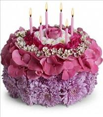 Photo of Your Special Day Birthday Flower Cake with Candles - T16-3