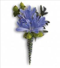Photo of Bold and Blue Boutonniere - T203-4