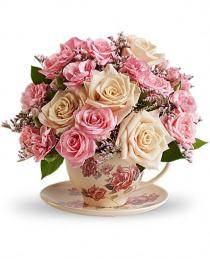 Photo of Teleflora's Victorian Tea Cup Bouquet - T210-3