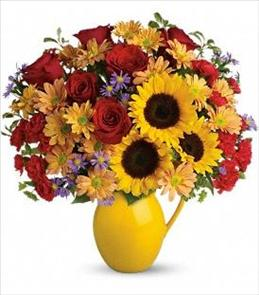 Photo of Sunny Day Pitcher of Joy Sunflowers and Roses  - TFL01-1