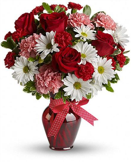 Hugs and kisses bouquet with red roses teleflora valentines catalog