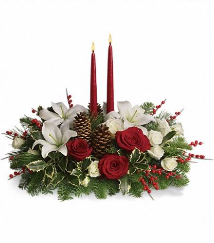 Christmas Flower Arrangements: Christmas Wishes Centrepiece