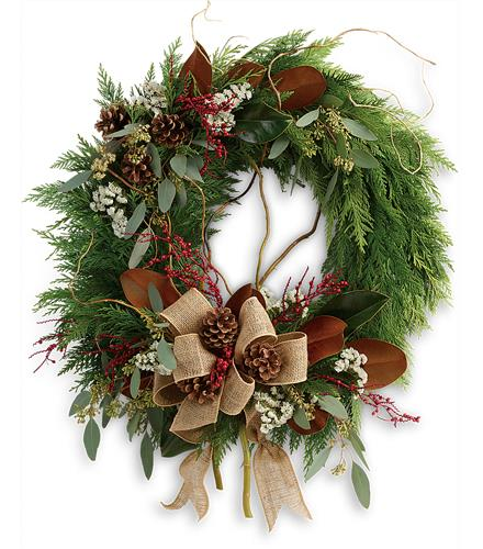 Christmas Flower Arrangements: Rustic Holiday Wreath