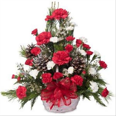 Photo of flowers: Red and White Holiday Above Bouquet