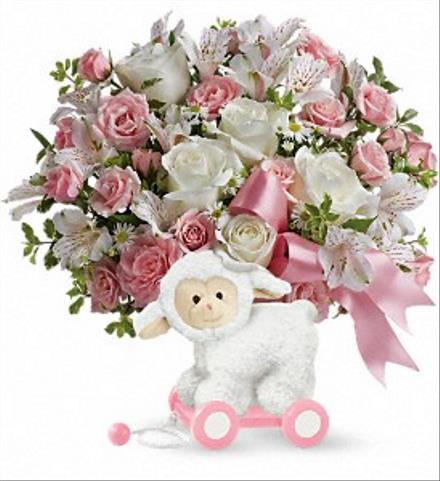 Photo of flowers: Sweet Littler Lamb  Baby Girl Pink