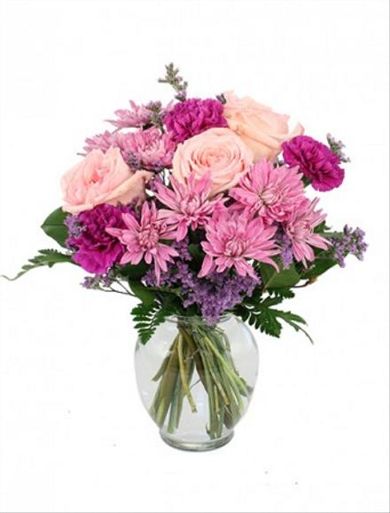 Photo of flowers: Pastel Mix in Vase with Roses