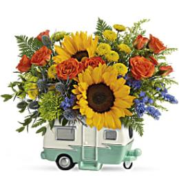 Photo of flowers: Retro Road Tripper Trailer