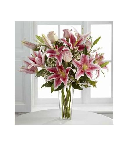 Photo of flowers: Simple Perfection Pink Oriental Lily Vase Bouuet
